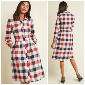 Modcloth Jam, Girl Shirt Dress in Mixed Berry